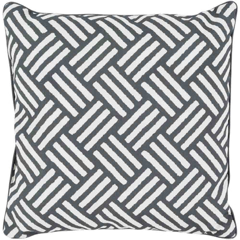 Image of Basketweave Outdoor Pillow ~ Black - Cece & Me - Home and Gifts