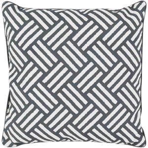 Basketweave Outdoor Pillow ~ Black - Cece & Me - Home and Gifts