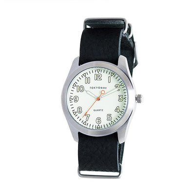 Basic Leather Watch~ Black w/White - Cece & Me - Home and Gifts