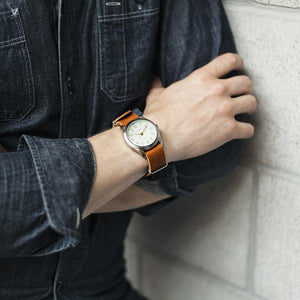 Basic Leather Watch~ Black w/White