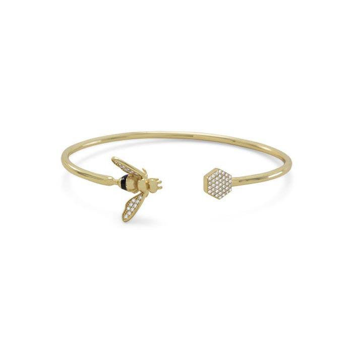 Bee Flex Cuff ~ 14 Karat Gold Plated & Signity CZ - Cece & Me - Home and Gifts