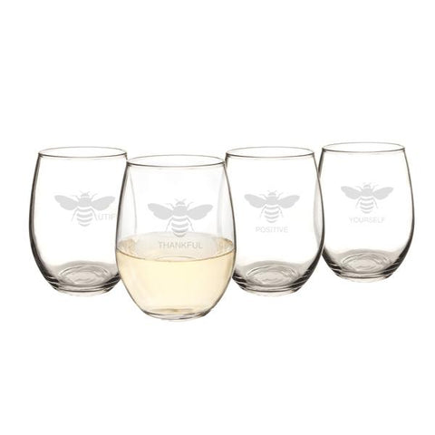 Image of Bee Thankful Stemless Wine Glasses (Set of 4) - Cece & Me - Home and Gifts