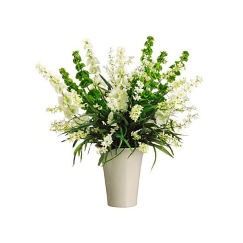 Bells of Ireland/Wildflower in Vase ~ Cream Green - Cece & Me - Home and Gifts