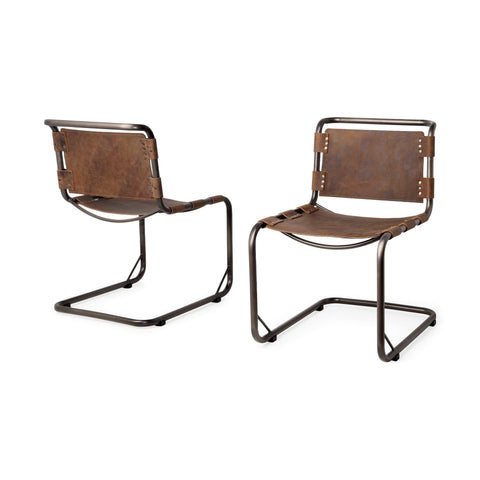 Berbick Dining Chair ~ Distressed Brown (Set of 2) - Cece & Me - Home and Gifts