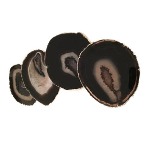 Black Agate Coaster (Set of 4) ~ Sterling Silver Finish - Cece & Me - Home and Gifts