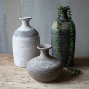 Black Grey and White Clay Vessels (Set of 3) - Cece & Me - Home and Gifts