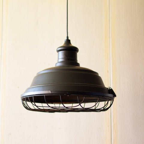 Black Metal Caged Pendant Light - Cece & Me - Home and Gifts