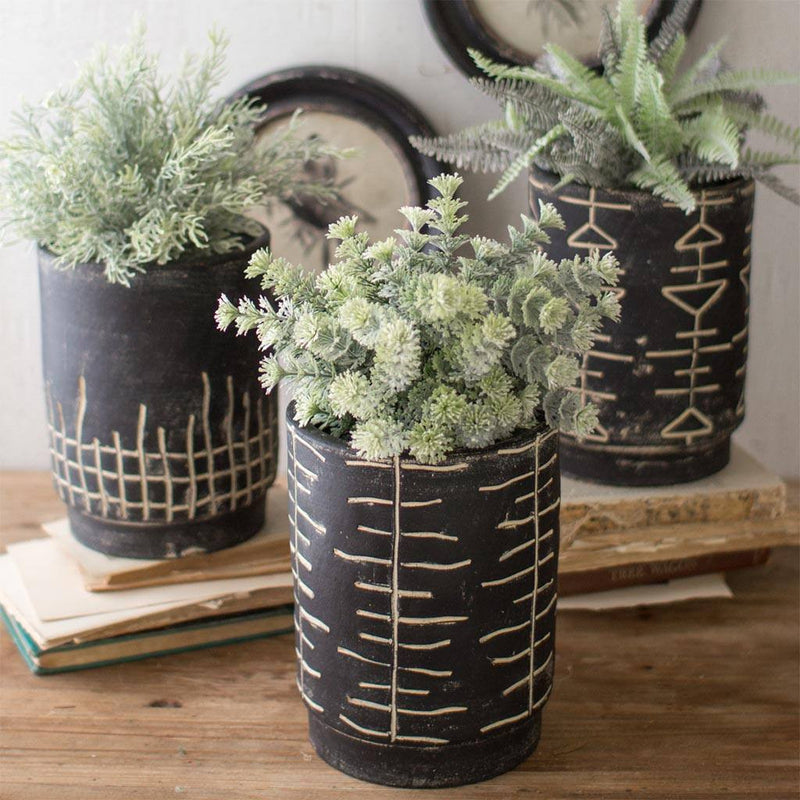 Black & White Clay Planters (Set of 3) - Cece & Me - Home and Gifts