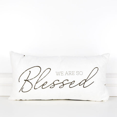 Image of Blessed Pillow ~ Reversible Plaid - Cece & Me - Home and Gifts
