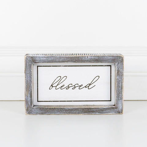Image of Blessed Wood-Framed Sign - Cece & Me - Home and Gifts