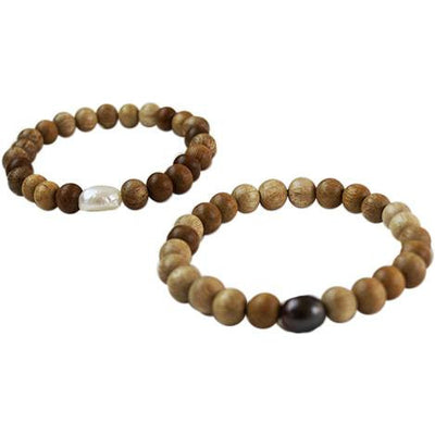 Stretchy Pearl with Blonde Wood Bracelet - Cece & Me - Home and Gifts