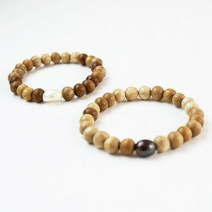Stretchy Irregular Pearls with Blonde Wood Bracelet - Cece & Me - Home and Gifts