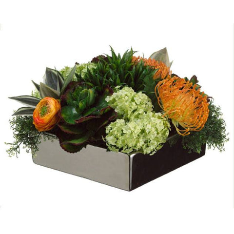 Bromeliad/Protea/Snowball in Square Dish ~ Green & Orange - Cece & Me - Home and Gifts