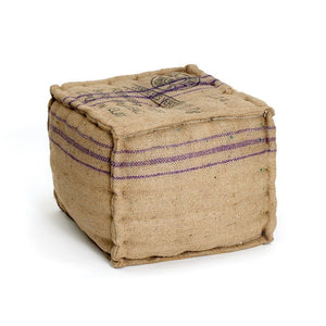 Burlap Square Ottoman - Cece & Me - Home and Gifts