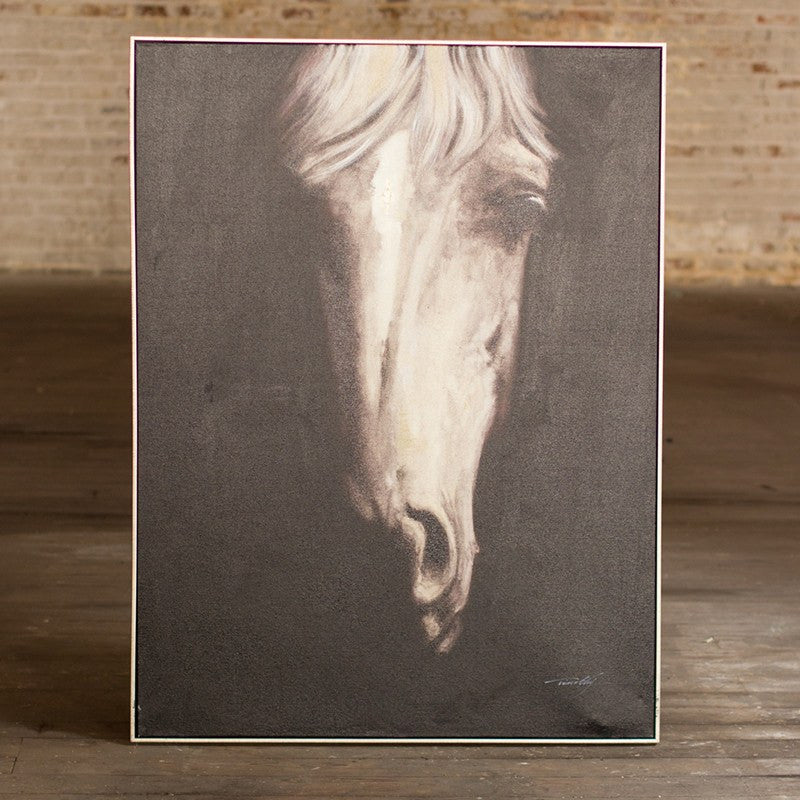 Oil Painting ~ Black and White Front View Horse with Silver Frame - Cece & Me - Home and Gifts