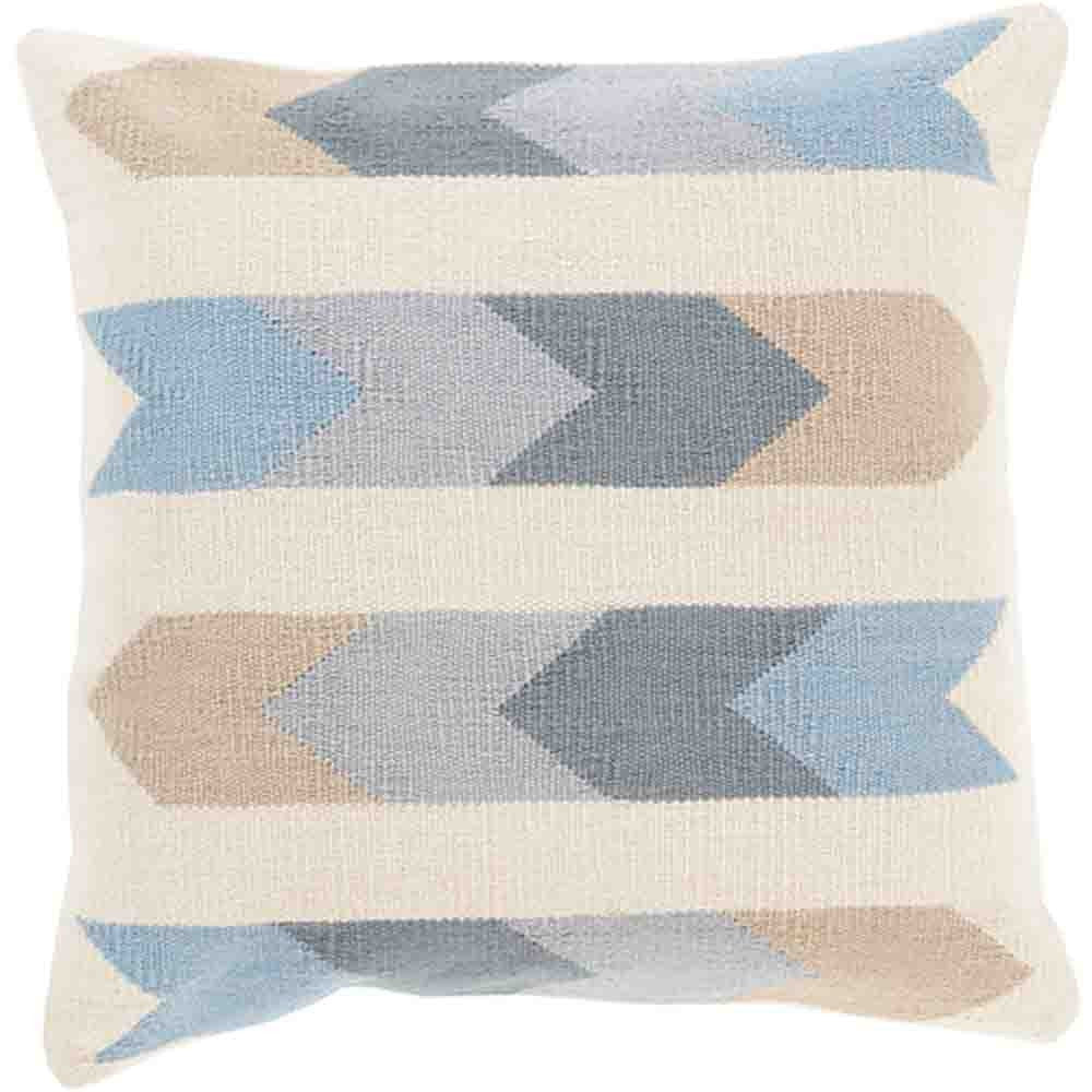 Cotton Kilim Pillow ~ Blue & Beige - Cece & Me - Home and Gifts