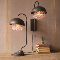 Metal Dome Table Lamp with Glam Detail