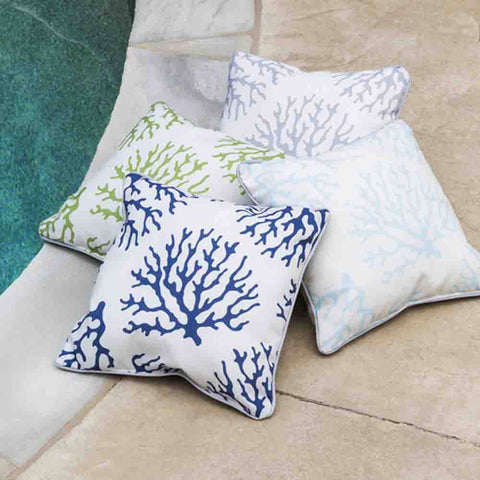 Image of Coral Outdoor Pillow ~ Blue & White - Cece & Me - Home and Gifts