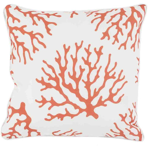 Coral Outdoor Pillow ~ Coral & White - Cece & Me - Home and Gifts