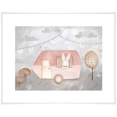 Image of Camping Caravan Pink Wall Art - Cece & Me - Home and Gifts