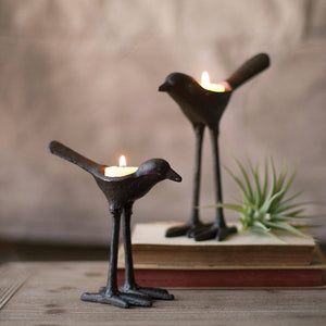 Cast Iron Bird T-Lite Light Holder (Set of 2) - Cece & Me - Home and Gifts
