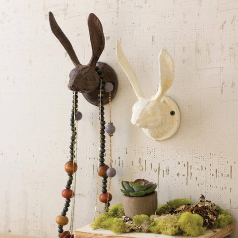 Cast Iron Rabbit Wall Hook ~ Antique White - Cece & Me - Home and Gifts