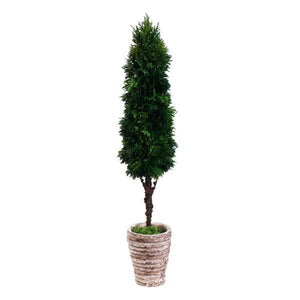 "Cedar Cone Topiary in Cement Pot Green - 25""H - Cece & Me - Home and Gifts"