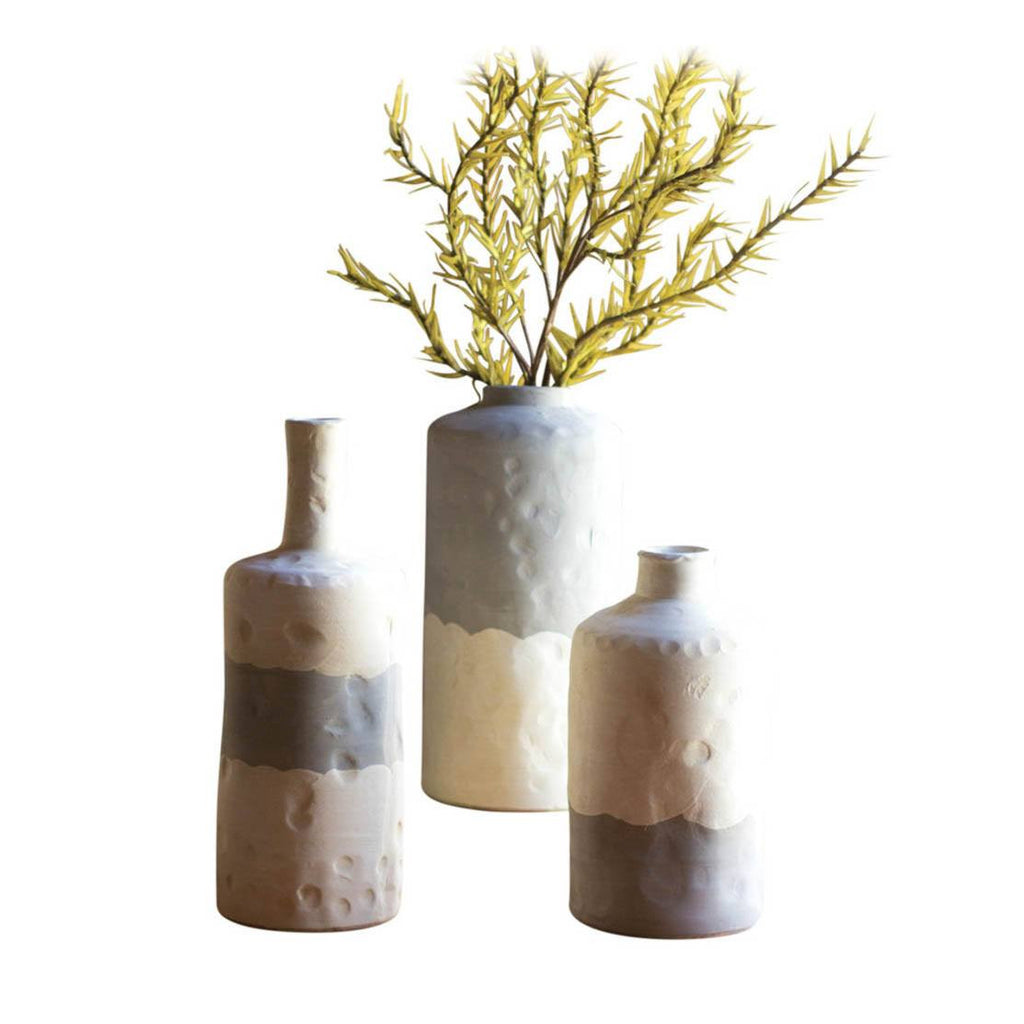 Ceramic Bottle Vases ~ Matte Grey & Cream (Set of 3) - Cece & Me - Home and Gifts