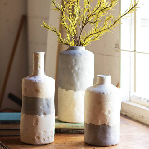 Image of Ceramic Bottle Vases ~ Matte Grey & Cream (Set of 3) - Cece & Me - Home and Gifts