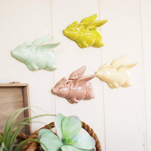 Image of Ceramic Flying Pig (Set of 4) - Cece & Me - Home and Gifts