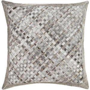 Cesta Hide Pillow ~ Black, White, Taupe, Back