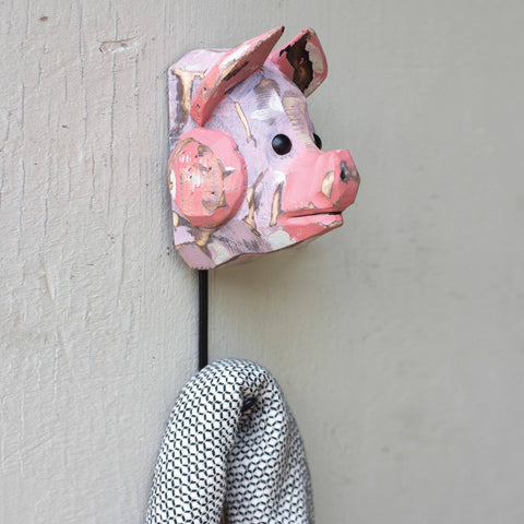 Charming Wooden Pig Hook - Cece & Me - Home and Gifts