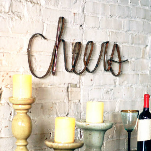 Image of Scrap Iron Cheers Wall Décor - Cece & Me - Home and Gifts