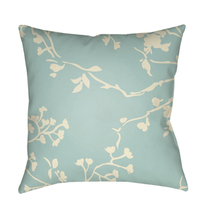 Chinoiserie Floral Pillow ~ Cream & Aqua - Cece & Me - Home and Gifts