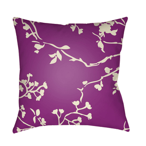 Chinoiserie Floral Pillow ~ Cream & Bright Purple - Cece & Me - Home and Gifts