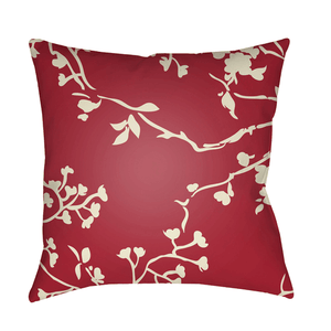 Chinoiserie Floral Pillow ~ Cream & Bright Red - Cece & Me - Home and Gifts