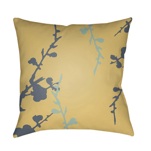 Chinoiserie Floral Pillow II ~ Denim/Mint/Saffron - Cece & Me - Home and Gifts