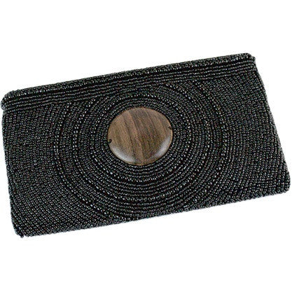 Image of Circle Drew Wood Wristlet Clutch ~ Black - Cece & Me - Home and Gifts