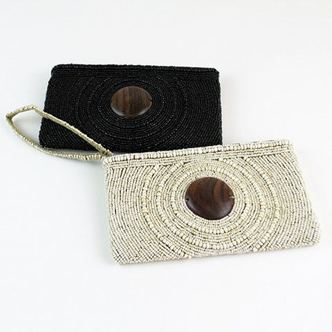 Circle Drew Wood Wristlet Clutch ~ Black - Cece & Me - Home and Gifts