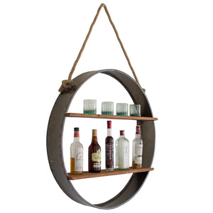 Circle Iron And Wood Hanging Wall Shelf - Cece & Me - Home and Gifts