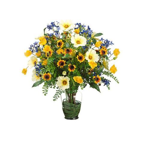 Cosmos/Poppy/Sunflower/Fern in Glass Vase Yellow Blue - Cece & Me - Home and Gifts