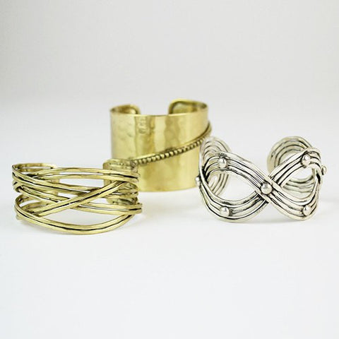 Cross Metal Cuff ~ Gold - Cece & Me - Home and Gifts