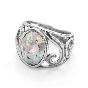 Cut Out Swirl Design Ring with Roman Glass - Cece & Me - Home and Gifts