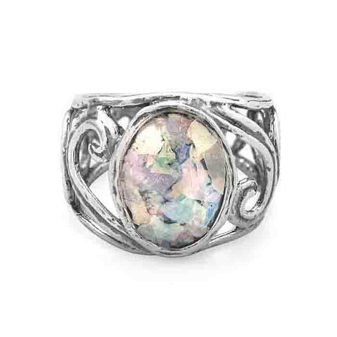 Image of Cut Out Swirl Design Ring with Roman Glass - Cece & Me - Home and Gifts