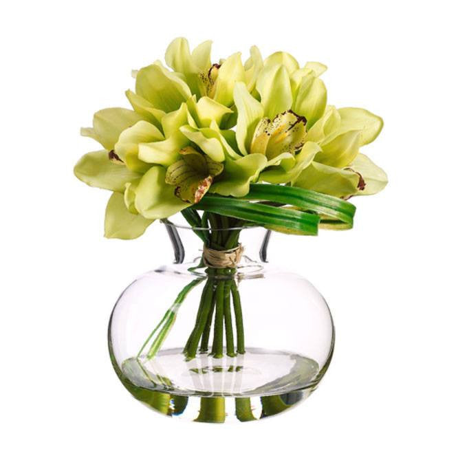 Cymbidium in Glass Vase ~ Green Burgundy - Cece & Me - Home and Gifts