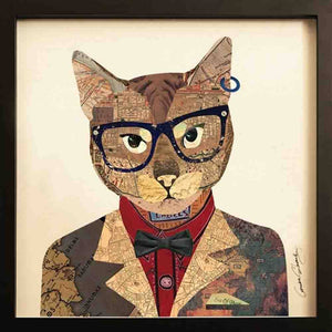 Funky Cat II ~ Art Collage - Cece & Me - Home and Gifts