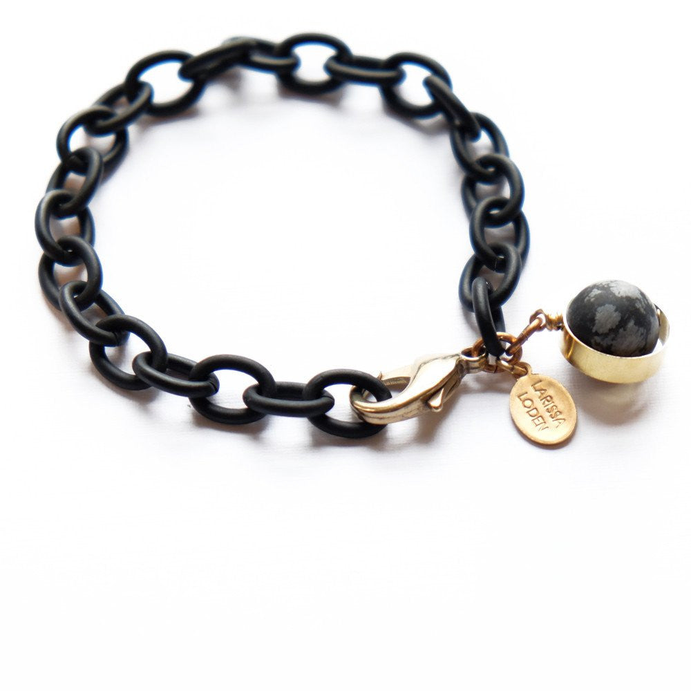 Dahlia Bracelet in Snowflake Obsidian - Cece & Me - Home and Gifts