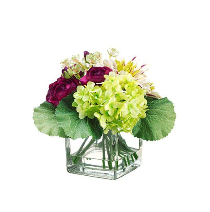 Dahlia/ Ranunculus in Glass Vase ~ Burgundy Green - Cece & Me - Home and Gifts