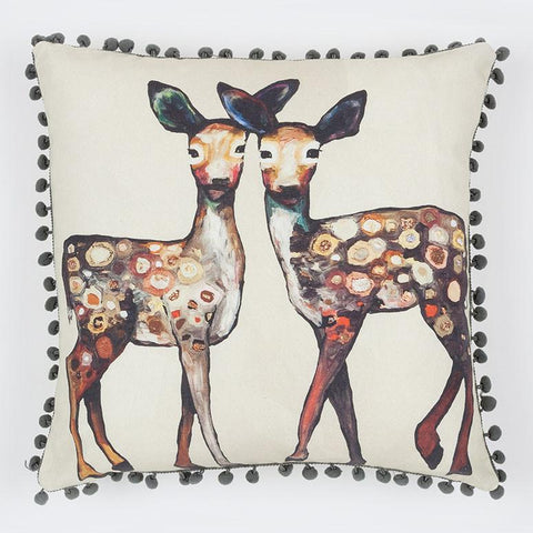 Image of Dancing Deer - Cream Pillow - Cece & Me - Home and Gifts