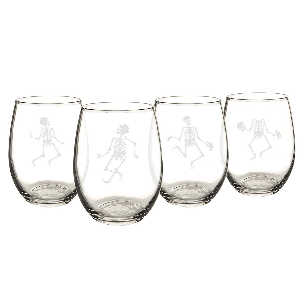 Dancing Skeletons Stemless Wine Glasses (Set of 4) - Cece & Me - Home and Gifts